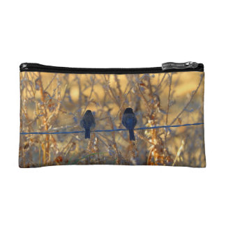 Romantic sparrow bird couple on a wire, Photo Cosmetic Bag