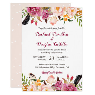 Romantic Spring Boho Floral Feather Wedding Card
