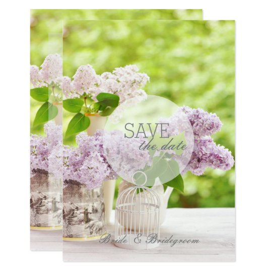 Romantic Spring Flower Floral Lilac SAVE the Date