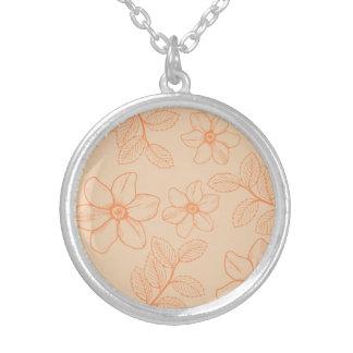 Romantic spring garden floral magnolia blossoms round pendant necklace