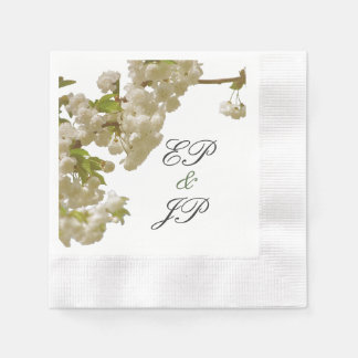 Romantic Spring Summer Cherry Blossom Wedding Paper Napkin