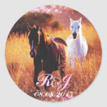 romantic star dust horses western country wedding round stickers