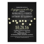 Romantic string lights chalkboard engagement party personalised announcement
