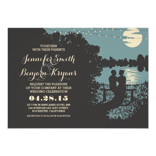 Romantic string lights outdoor wedding invitation