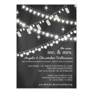 Romantic String Lights Reception Only Invitation