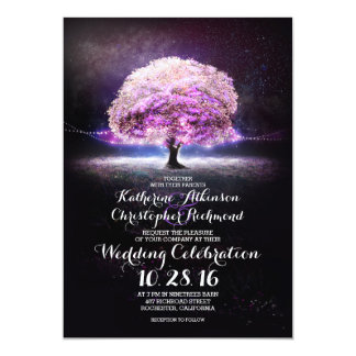 romantic string lights tree purple wedding invites
