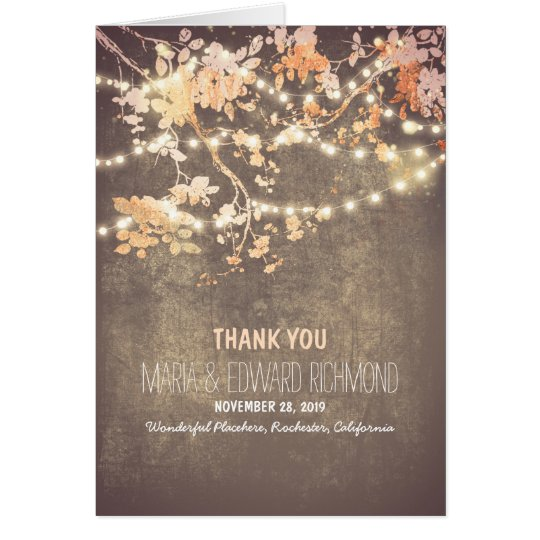 Romantic string lights wedding thank you card