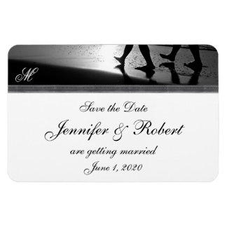 Romantic Stroll Monogram in Silver Grey and Black Rectangular Photo Magnet