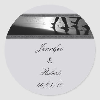 Romantic Stroll Monogram in Silver Grey and Black Round Sticker
