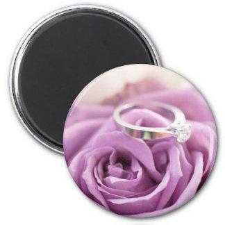 romantic summer floral purple rose wedding 6 cm round magnet