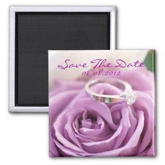 romantic summer floral purple rose wedding square magnet