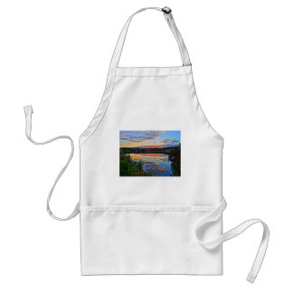 romantic sunset at a lake with mountains standard apron