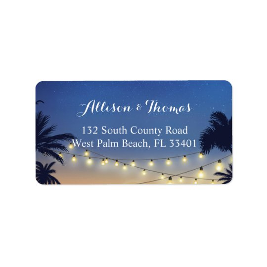 Romantic Sunset Beach Palm Tree String Lights Label
