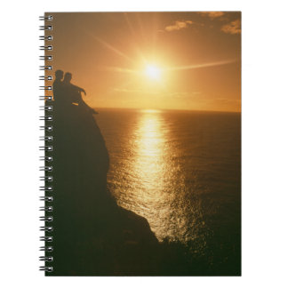 romantic sunset by the beach spiral notebook