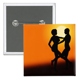 Romantic Sunset Dancing Couple 15 Cm Square Badge