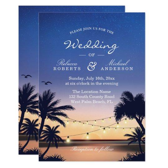 Romantic Sunset Palm Beach String Lights Wedding Card
