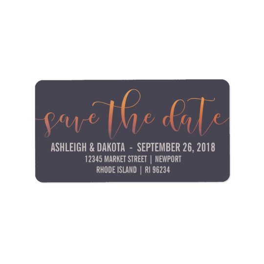 Romantic Sunset Silhouette Photo Save The Date Address Label