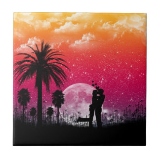 Romantic Sunset Wall Tile