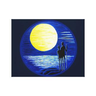 Romantic Super Moon Gazing Couple Canvas Print