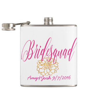 Romantic Swirl Bridesmaid in Rose Pink & Gold Hip Flask