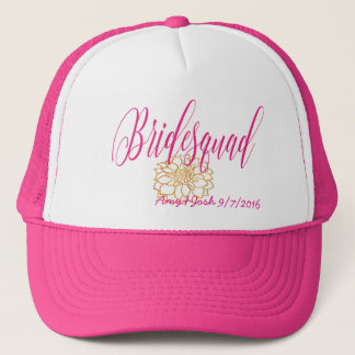 Romantic Swirl Bridesmaid in Rose Pink & Gold Trucker Hat