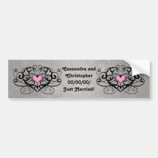 Romantic swirls and hearts just married bumper sticker