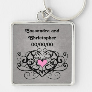 Romantic swirls and hearts wedding Silver-Colored square keychain