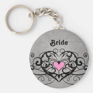 Romantic swirls and hearts wedding basic round button keychain