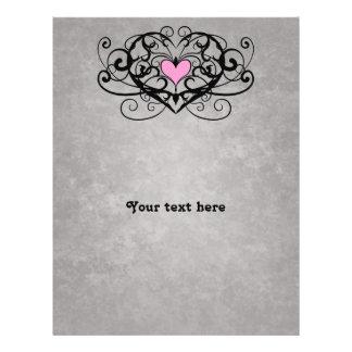 Romantic swirls and pink heart wedding 21.5 cm x 28 cm flyer