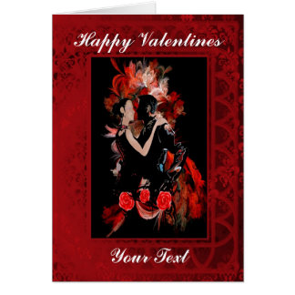 Romantic tango ballroom dancers valentines day greeting card