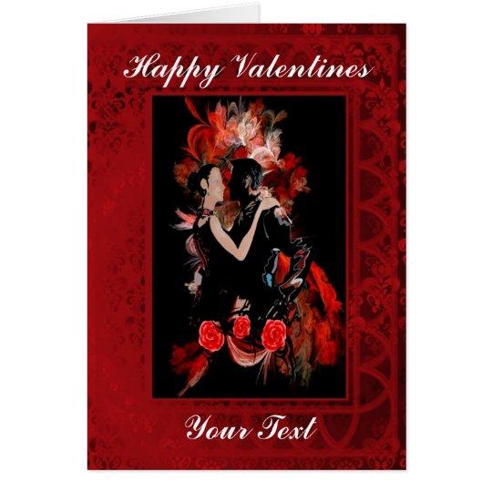 Romantic tango ballroom dancers valentines day card