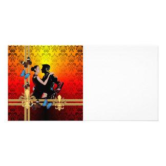 Romantic tango dancers on damask customised photo card