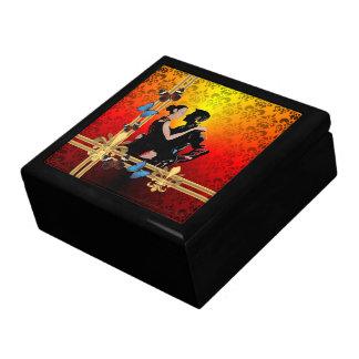 Romantic tango dancers on damask gift box