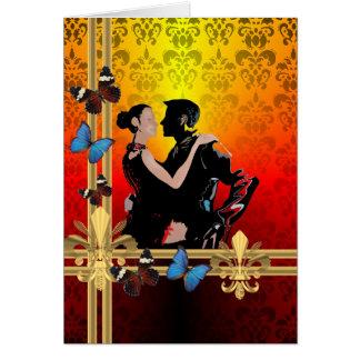 Romantic tango dancers on damask greeting card