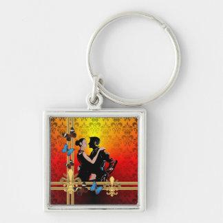 Romantic tango dancers on damask key ring