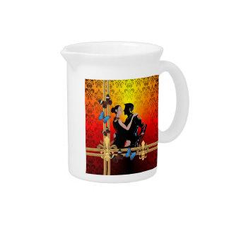 Romantic tango dancers on damask pitcher