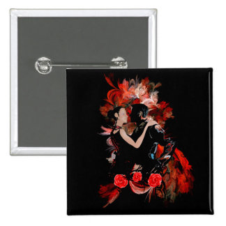 Romantic tango dancers on red fractal 15 cm square badge