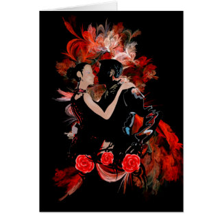 Romantic tango dancers on red fractal greeting card