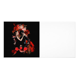 Romantic tango dancers on red fractal picture card
