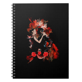 Romantic tango dancers on red fractal spiral notebook