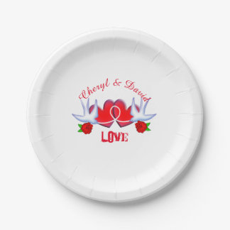 Romantic Tattoo Swallow Love Hearts And Roses Paper Plate