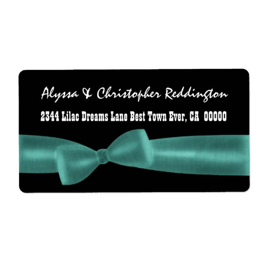Romantic TEAL Bow on Black Background V02 Shipping Label