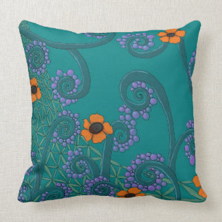 Romantic Teal Throw Pillow With Flower Design
