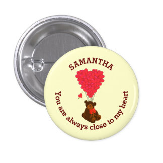 Romantic teddy bear and red heart personalized 3 cm round badge