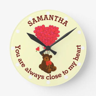 Romantic teddy bear and red heart personalized clocks