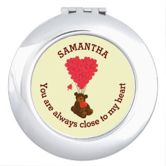Romantic teddy bear and red heart personalized makeup mirror
