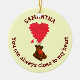 Romantic teddy bear and red heart personalized round ceramic decoration