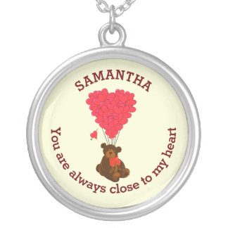 Romantic teddy bear and red heart personalized round pendant necklace