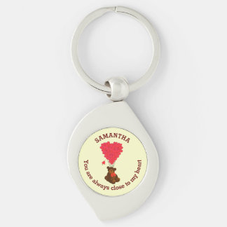 Romantic teddy bear and red heart personalized Silver-Colored swirl key ring