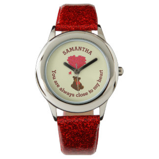 Romantic teddy bear and red heart personalized wrist watch
